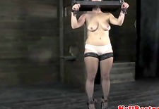 BDSM sub spanked while in stocks