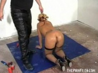 Spanking and rough hardcore of blonde teen in whipped domination and brutal blow