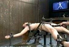 Adorable first-timer, 19-year-old Sasha metal-bound spread-eagle