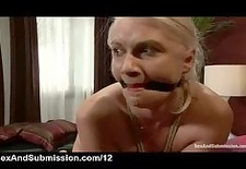 tied up blonde gets flogged caned and paddled in bed